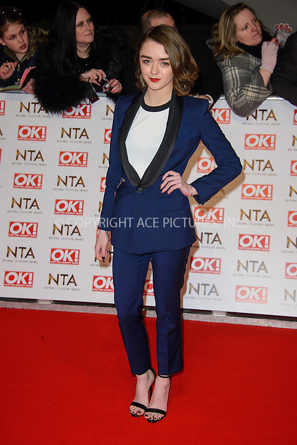WWW.ACEPIXS.COM<br /> <br /> January 20 2015, London<br /> <br /> Maisie Williams attends the National Television Awards at the O2 Arena on January 21 2015 in London<br /> <br /> <br /> By Line: Famous/ACE Pictures<br /> <br /> <br /> ACE Pictures, Inc.<br /> tel: 646 769 0430<br /> Email: info@acepixs.com<br /> www.acepixs.com
