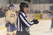 Linesman Peter Feola (33) during the first period of The Frozen Frontier outdoor AHL game between the Lake Erie Monsters and Rochester Amerks at Frontier Field on December 13, 2013 in Rochester, New York.  (Copyright Mike Janes Photography)