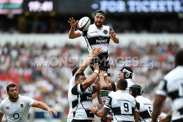 Jeremy Thrush of the Barbarians wins the ball at a lineout. Old Mutual Wealth Cup International match between England and the Barbarians on May 28, 2017 at Twickenham Stadium in London, England. Photo by: Patrick Khachfe / Onside Images