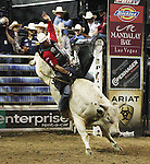 Guilherme Marchi from Leme, SP, BZ rides Down Time during the Built FordTough Series Copenhagen Bull Riding Invitational in Reno, Nevada on Saturday night Sept. 12th.  Photo by Tom Smedes.