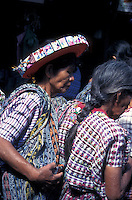 Tzutuhil Maya woman wearing traditional headress and clothing in Santiago Atitlan, Guatemala