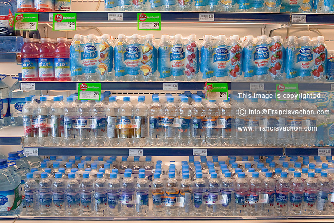 Various brands of various water based products are seen in a Metro grocery store in Quebec city March 4, 2009.