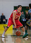18 February 2018: Hartford University Hawk Guard Andrew Ramirez, a Junior from Madrid, Spain, in action against the University of Vermont Catamounts at Patrick Gymnasium in Burlington, Vermont. The Catamounts fell to the Hawks 69-68 in their America East Conference matchup. Mandatory Credit: Ed Wolfstein Photo *** RAW (NEF) Image File Available ***