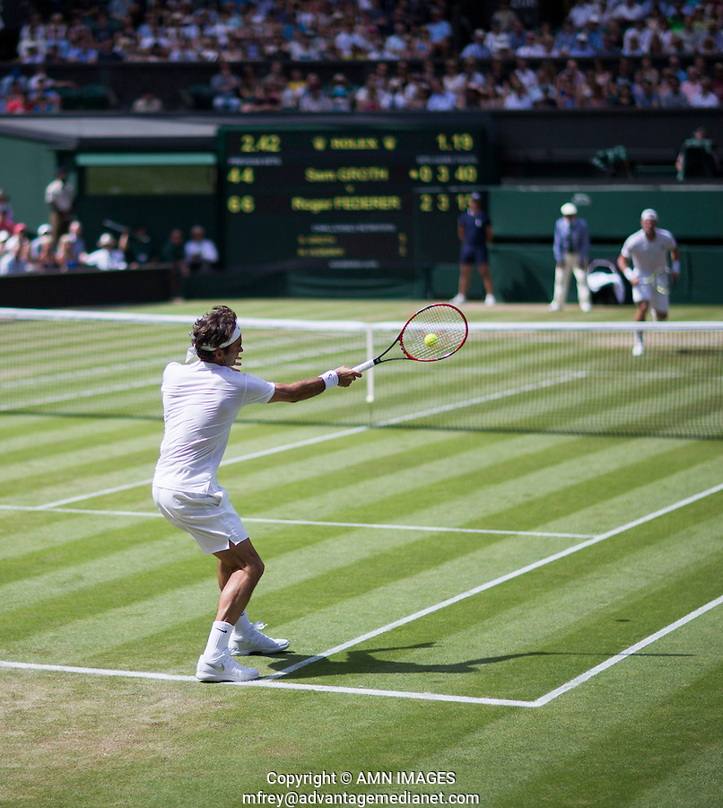 ROGER FEDERER (SUI)<br /> <br /> TENNIS - THE CHAMPIONSHIPS - WIMBLEDON 2015 -  LONDON - ENGLAND - UNITED KINGDOM - ATP, WTA, ITF <br /> <br /> &copy; AMN IMAGES