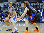January 24, 2015 - Colorado Springs, Colorado, U.S. -   Air Force forward, Hayden Graham #35, works against Bronco, Robert Heyer #22, during a Mountain West Conference match-up between the Boise State Broncos and the Air Force Academy Falcons at Clune Arena, U.S. Air Force Academy, Colorado Springs, Colorado.  Boise State defeats Air Force 77-68.