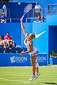 June 18th 2017, Edgbaston Priory Club; Tennis Tournament; Aegon Classic Birmingham; Sunday Qualifiers; Jana Fett serving against Fanny Stollar