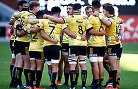 DURBAN, SOUTH AFRICA - JUNE 01: The Hurricanes huddle during the Super Rugby match between Cell C Sharks and Hurricanes at Jonsson Kings Park Stadium in Durban, South Africa on Saturday, 1 June 2019. Photo by Steve Haag / stevehaagsports.com