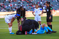 CARSON, CA - FEBRUARY 07: Melissa Borjas, Gabriela Guillen #2, Mariana Benavides #4, Byron Patterson attend to GK Noelia Bermudez #1 of Costa Rica during a game between Canada and Costa Rica at Dignity Health Sports Park on February 07, 2020 in Carson, California.