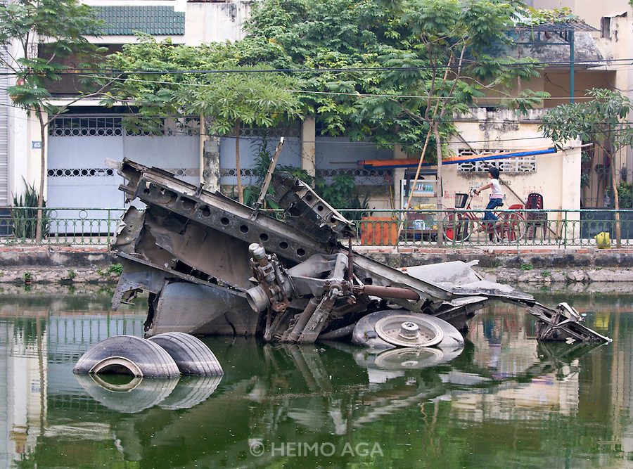 B-52 Bomber Monument. In 1972, an American B-52 bomber had been shot down by North Vietnamese forces and crashed in this pond.