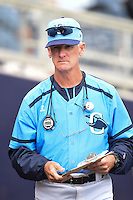 Charlotte Stone Crabs pitching coach Steve Watson (18) in the dugout during a game against the Fort Myers Miracle on April 16, 2014 at Charlotte Sports Park in Port Charlotte, Florida.  Fort Myers defeated Charlotte 6-5.  (Mike Janes/Four Seam Images)