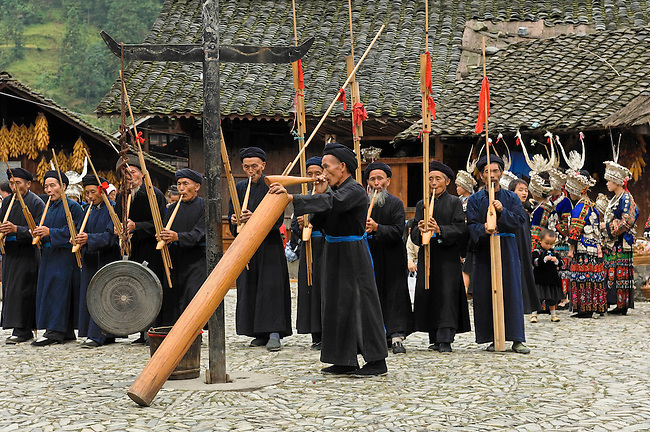 Lande is a Long-Skirt Miao Village. Village band with variety of traditonal instruments. Wind instrument is called lusheng; it is made of bamboo