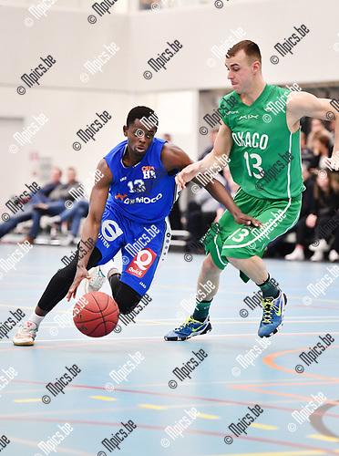 2017-03-18 / Basketbal / Seizoen 2016-2017 / Oxaco - Houthalen / Snyers (l. Houthalen) met Nau<br /> <br /> ,Foto: Mpics.be