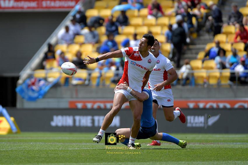 Yoshiaki Tsurugasaki ( 鶴ヶ崎好昭 ) in action during the HSBC Wellington Sevens at Westpac Stadium, Wellington, New Zealand on Sunday 29January 2017.<br /> Photo by Masanori Udagawa<br /> www.photowellington.photoshelter.com.