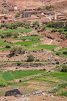 Atlas Mountains, near Tizi N'Tichka Pass, Morocco.  Village and Terraced Fields, Arid Landscape.