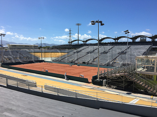 24.02.2016. Stade Amedee Detraux - Baie Mahault, the site for the upcoming French Davis Cup tournament between France and Canada, under final construction process.