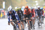 The lead group of riders tackle the 9 laps of the Harrogate circuit during the Men Elite Road Race of the UCI World Championships 2019 running 261km from Leeds to Harrogate, England. 29th September 2019.<br /> Picture: Eoin Clarke | Cyclefile<br /> <br /> All photos usage must carry mandatory copyright credit (© Cyclefile | Eoin Clarke)