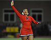 Tamiah Simpson and the Freeport varsity cheerleaders entertain the crowd during halftime of a Nassau County Conference I varsity football game between the Red Devils and Oceanside at Freeport High School on Friday, Sept. 21, 2018.