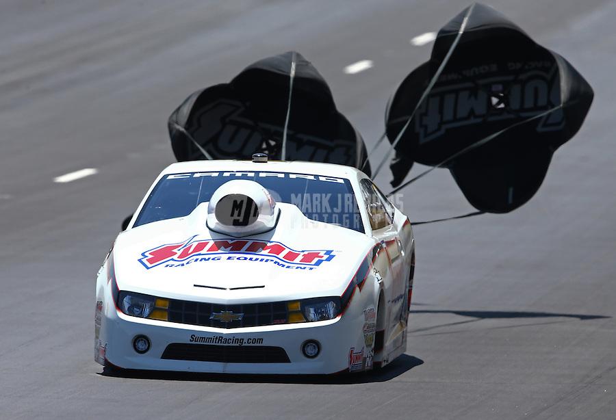 Jul. 21, 2013; Morrison, CO, USA: NHRA pro stock driver Greg Anderson during the Mile High Nationals at Bandimere Speedway. Mandatory Credit: Mark J. Rebilas-