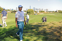 Hideki Matsuyama (JPN) makes his way to the 6th tee during round 1 foursomes of the 2017 President's Cup, Liberty National Golf Club, Jersey City, New Jersey, USA. 9/28/2017.<br /> Picture: Golffile | Ken Murray<br /> ll photo usage must carry mandatory copyright credit (&copy; Golffile | Ken Murray)