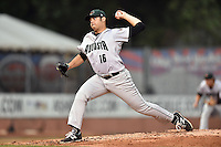 Augusta GreenJackets starting pitcher Nick Gonzalez (16) delivers a pitch during a game against the Asheville Tourists on April 28, 2015 in Asheville, North Carolina. The Tourists defeated the GreenJackets 7-3. (Tony Farlow/Four Seam Images)