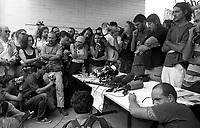 Genova 19 Luglio 2001.G8.Stadio Carlini .conferenza stampa con Luca Casarini e i portavoce dei movimenti