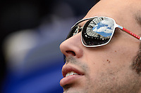 A fan looks up at the roof of Red Bull Arena prior to the start of the match. The New York Red Bulls and the Colorado Rapids played to a 1-1 tie during a Major League Soccer (MLS) match at Red Bull Arena in Harrison, NJ, on March 15, 2014.