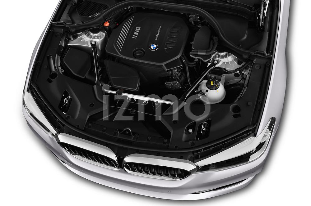 Car Stock 2017 BMW 5-Series Sport 4 Door Sedan Engine  high angle detail view