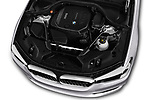 Car Stock 2017 BMW 5-Series Sport 4 Door Sedan Engine  high angle detail view