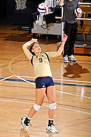 11 September 2011:  FIU middle blocker Silvia Carli (9) serves in the third set as the FIU Golden Panthers defeated the Florida A&M University Rattlers, 3-0 (25-10, 25-23, 26-24), at U.S Century Bank Arena in Miami, Florida.