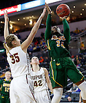 SIOUX FALLS, SD: MARCH 4: Brianna Jones #34 of North Dakota State shoots past IUPUI defender Allex Brown #35 on March 4, 2017 during the Summit League Basketball Championship at the Denny Sanford Premier Center in Sioux Falls, SD. (Photo by Dick Carlson/Inertia)