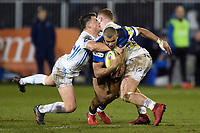 Jonathan Joseph of Bath Rugby is double-tackled. Aviva Premiership match, between Bath Rugby and Exeter Chiefs on March 23, 2018 at the Recreation Ground in Bath, England. Photo by: Patrick Khachfe / Onside Images