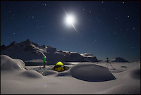 BNPS.co.uk (01202 558833).Pic: SamanthaCrimmin/BNPS..***Please Use Full Byline***..Samantha's lonely tent on the Harker galcier in South Georgia...A British Doctors braved freezing conditions to capture unique pictures of the night sky from the tiny British island of South Georgia in the remote South Atlantic...Amateur photographer Samantha Crimmin's stunning photos of the sky at night over South Georgia have left locals so star-struck they have been turned into stamps...Dr Samantha Crimmin was working as an emergency medic for the British Antartic Survey team when she took the celestial images in her spare time...Dr Crimmin used long exposures and plenty of patience to create the incredible shots that show star trails in a perfect circular motion...Her gallery of photos depict the night sky above different locations on the tiny outpost in the south Atlantic...They include one above the Harker Glacier - named after British geologist Alfred Harker - and over the wrecks of two Norwegian whaling ships at Grytviken.