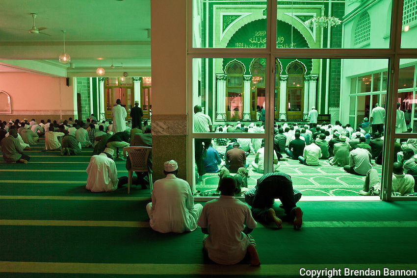 People assembling for Friday prayers at Jamia Mosque in Nairobi, Kenya.