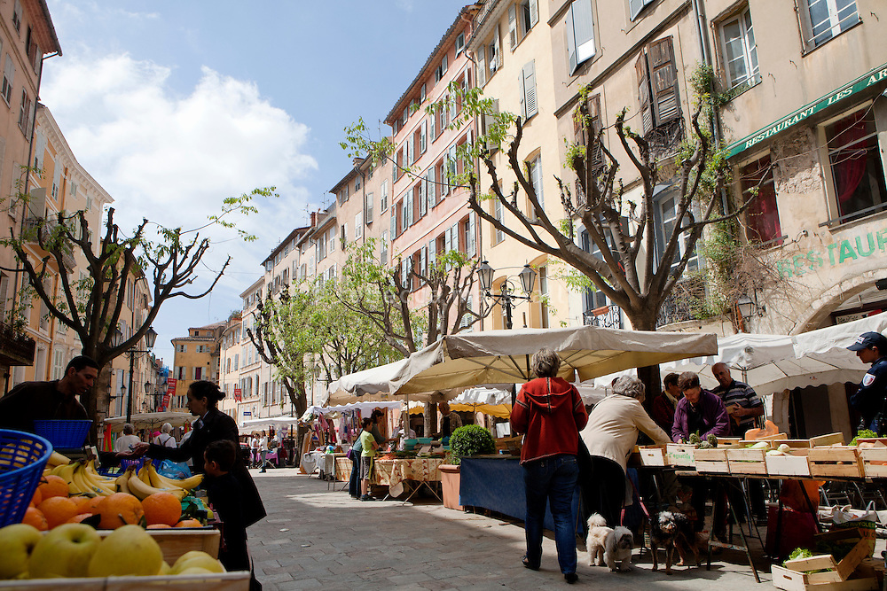 La Place aux Aires, Grasse, France, 4 May 2013. A Provençal market is held here every Saturday morning.