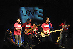 Guiding Light's Bradley Cole with his band at the Daytime Stars and Strikes Charity Event to benefit the American Cancer Society at the Bowlmore Lanes, New York City, New York. (Photo by Sue Coflin/Max Photos)