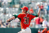 Greensboro Grasshoppers starting pitcher Scott Lyman (31) delivers a pitch to the plate against the Delmarva Shorebirds at NewBridge Bank Park on May 26, 2013 in Greensboro, North Carolina.  The Grasshoppers defeated the Shorebirds 11-2.  (Brian Westerholt/Four Seam Images)