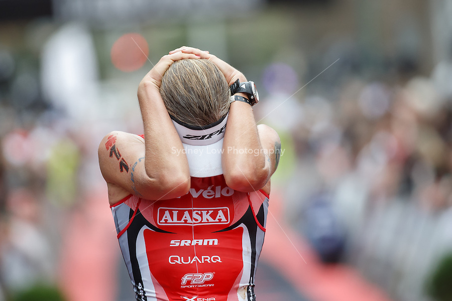 Caroline STEFFEN reacts after winning the female Pro section of the IRONMAN Asia-Pacific Championship in Melbourne, Australia on Sunday March 23, 2013. (Photo Sydney Low / sydlow.com)