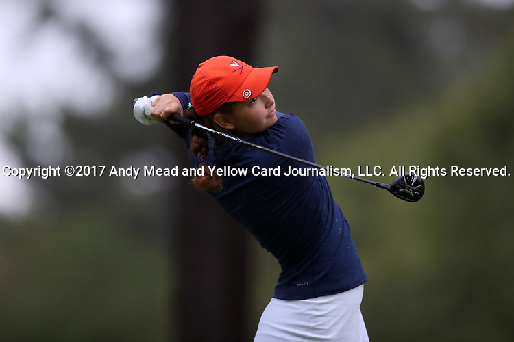 CHAPEL HILL, NC - OCTOBER 13: Virginia's Kate Harper on the 10th tee. The first round of the Ruth's Chris Tar Heel Invitational Women's Golf Tournament was held on October 13, 2017, at the UNC Finley Golf Course in Chapel Hill, NC.