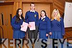 Pobalscoil Chorca Dhuibhne (Dingle) students Fiona Ní Chonchúir, Barra Ó Súilleabhain, Caoimhe Ní Ghealbhain and Sharon Ní h-Ainiféin after the first morning of the Leaving Certification exams.