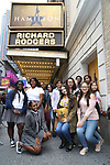 """Students performers arrive before The Rockefeller Foundation and The Gilder Lehrman Institute of American History sponsored High School student #EduHam matinee performance of """"Hamilton"""" at the Richard Rodgers Theatre on October 25, 2017 in New York City."""