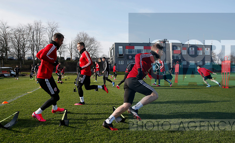 Richairo Zivlovic and Oliver Norwood of Sheffield Utd during the Press Conference & Training at the Steelphalt Academy, Sheffield. Picture date: 7th February 2020. Picture credit should read: Simon Bellis/Sportimage