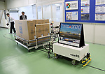 """May 31, 2017, Utsunomiya, Japan - A robot carries Japan's electronics giant Panasonic's new Organic Light Emitting Diode (OLED) television sets """"Viera"""" from assembly line at the Panasonic Manufacturing Innovation Center in Utsunomiya , 100km north of Tokyo on Wednesday, May 31, 2017. Panasonic will start to sell 55-inch and 65-inch sized 4K OLED TV series from next month.   (Photo by Yoshio Tsunoda/AFLO) LwX -ytd-"""