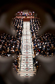 The flag-draped casket of former President George H.W. Bush is visible during a State Funeral at the National Cathedral, Wednesday, Dec. 5, 2018,  in Washington. <br /> Credit: Andrew Harnik / Pool via CNP