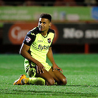 Exeter City's Ollie Watkins sees a move break down during the Sky Bet League 2 match between Crawley Town and Exeter City at Broadfield Stadium, Crawley, England on 28 February 2017. Photo by Carlton Myrie / PRiME Media Images.