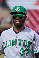 Clinton LumberKings outfielder Greifer Andrade (37) prior to a Midwest League game against the Wisconsin Timber Rattlers on April 26, 2018 at Fox Cities Stadium in Appleton, Wisconsin. Clinton defeated Wisconsin 7-3. (Brad Krause/Four Seam Images)