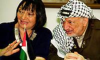 Ramallah / Palestine / Israel 2002.Yasser Arafat  photographed with Luisa Morgantini, spokesperson for the Italian Association for Peace and member of 'Women in Black' anti-war movement. .Photo Livio Senigalliesi.
