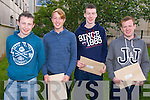 L-R Tim Cronin, Oliver O'Connor, Philip Murphy and Conor   Kerins from Sliabh Luchra Secondary School in Rathmore after receiving their Leaving Cert results last Wednesday morning.