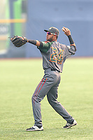 Carlos Herrera (24) of the Boise Hawks throws before a game against the Hillsboro Hops at Ron Tonkin Field on August 22, 2015 in Hillsboro, Oregon. Boise defeated Hillsboro, 6-4. (Larry Goren/Four Seam Images)