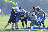 July 27, 2018: New England Patriots tight end Will Tye (82) does a drill at the New England Patriots training camp held on the practice fields at Gillette Stadium, in Foxborough, Massachusetts. Eric Canha/CSM