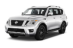 2017 Nissan Armada Platinum 5 Door SUV Angular Front stock photos of front three quarter view